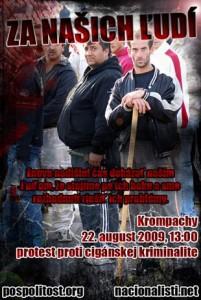 Plakataufruf zur Anti-Roma-Demonstration in Krompachy