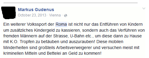 Facebook-Hetze von Markus Gudenus (Screenshot: stopptdierechten.at)