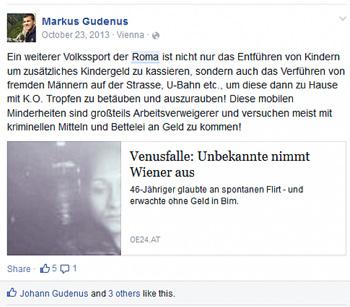 Hetze gegen Roma: Posting von FP-Bezirksrat Markus Gudenus (Screenshot: K. Öllinger)