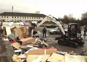 Deutschland: Vorwürfe nach Lager-Abriss im Frankfurter Gutleutviertel (Foto: Hessenschau)