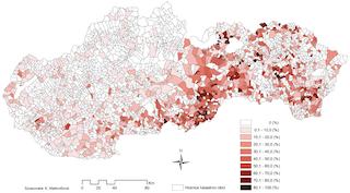 Verteilung der Roma-Bevölkerung in der Slowakei: Roma-Volksgruppen-Anteil in den Kommunen (Roma-Atlas 2013)