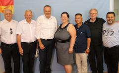 Volksgruppen-Besuch bei Landeshauptmann Doskozil (3. v. li.), Juli 2019