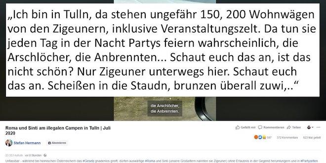 Stefan Hermann ist stv. Klubobmann der FPÖ im steiermärkischen Landtag. Er verbreitet diesen Video-Hasstext (via Twitter, @pollak_politics)